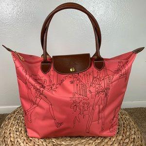 Long champ Pink Embroidered Nylon Tote Bag